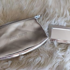 Bobbi Brown Silver Makeup Bag and Mirror